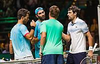 Rotterdam, The Netherlands, 17 Februari 2019, ABNAMRO World Tennis Tournament, Ahoy, Final, Doubles, Jean-Julien Rojer (NED) / Horia Tecau (ROU) - Jeremy Chardy (FRA) / Henri Kontinen (FIN) winners,<br /> Photo: www.tennisimages.com/Henk Koster