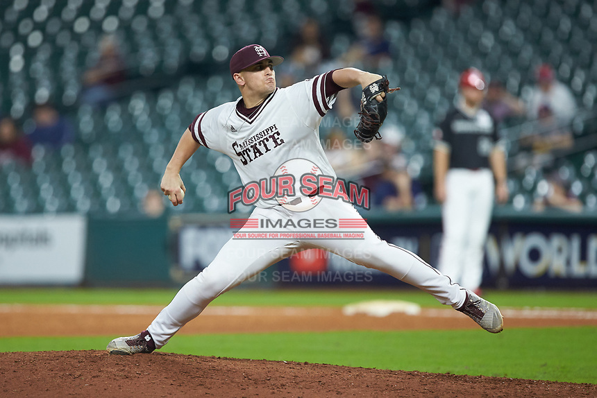 Mississippi State Bulldogs relief pitcher JP France (28) in action against the Houston Cougars in game six of the 2018 Shriners Hospitals for Children College Classic at Minute Maid Park on March 3, 2018 in Houston, Texas. The Bulldogs defeated the Cougars 3-2 in 12 innings. (Brian Westerholt/Four Seam Images)