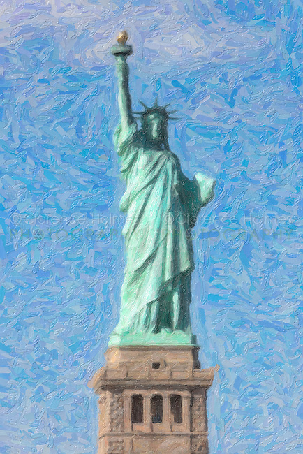 The Statue of Liberty on Liberty Island in New York Harbor creatively modified to resemble a painting. The image was creatively modified to resemble a painting.