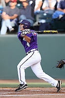 Josh Gonzales #4 of the TCU Horned Frogs bats against the UCLA Bruins at the Los Angeles super regionals at Jackie Robinson Stadium on June 9, 2012 in Los Angeles,California. UCLA defeated TCU 4-1.(Larry Goren/Four Seam Images)
