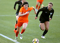 Portland, OR - Wednesday March 14, 2018: Haley Hanson, Lauren Kaskie during a National Women's Soccer League (NWSL) pre season match between the Houston Dash and the Chicago Red Stars at Merlo Field.