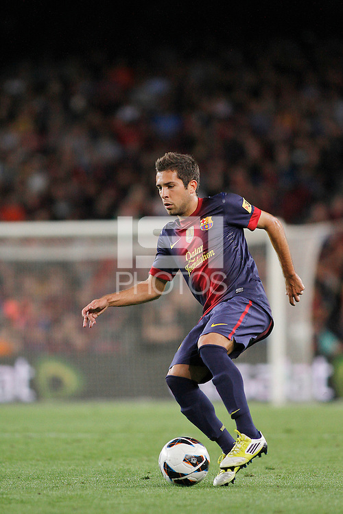 02/09/2012 - Liga Football Spain, FC Barcelona vs. Valencia CF Matchday 3 - Jordi Alba, spanish left defense from FC BArcelona, and ex Valencia CF player, controls the ball