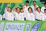 (L to R) Kana Abe, Haruka Tachimoto, Nae Udaka, Yuki Hashimoto (JPN), .April 21, 2013 - Judo : .Asian Judo Championships 2013, Women's Team Competition Final .at Bangkok Youth Centre, Bangkok, Thailand. .(Photo by Daiju Kitamura/AFLO SPORT) [1045]