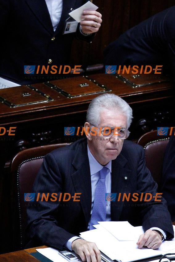 COMUNICAZIONI DEL NEO  PRESIDENTE DEL CONSIGLIO E VOTO DI FIDUCIA PER IL NUOVO GOVERNO..NELLA FOTO IL PRESIDENTE DEL CONSIGLIO MARIO MONTI..ROMA 18 NOVEMBRE  2011..PHOTO  SERENA CREMASCHI INSIDEFOTO..............................