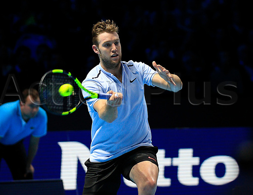 18th November 2017, O2 Arena, London, England; Nitto ATP Tennis Finals; Jack Sock (USA) plays a forehand shot in his match with Grigor Dimitrov (BUL)