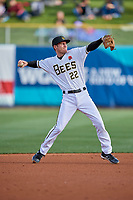 Ty Kelly (22) of the Salt Lake Bees during the game against the Tacoma Rainiers at Smith's Ballpark on May 27, 2019 in Salt Lake City, Utah. The Bees defeated the Rainiers 5-0. (Stephen Smith/Four Seam Images)