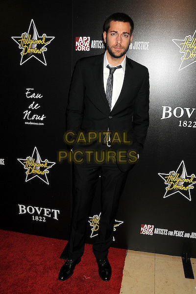 Zachary Levi.5th Annual Hollywood Domino Gala & Tournament held at the Sunset Tower Hotel, West Hollywood, California, USA..February 23rd, 2012.full length black suit beard facial hair white shirt .CAP/ADM/BP.©Byron Purvis/AdMedia/Capital Pictures.