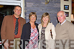 Having a great night at the Milltown Pioneers 85th Anniversary celebrations in Killorglin Golf club on Friday night was l-r: John Joe Sullivan, Geraldine Sullivan Callinafercy Magella and William Mangan Milltown
