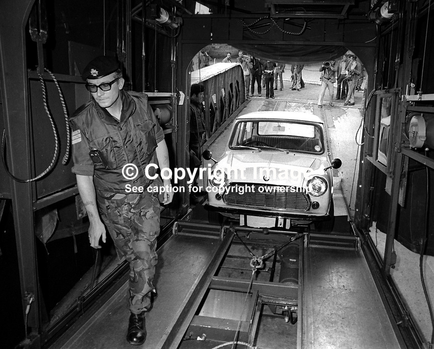 The British Army in N Ireland introduced 20th September 1972 another weapon in its fight against local para-militaries. A vehicle suspected of carrying concealed weapons can now be scanned. A &ldquo;suspect&rdquo; vehicle is drawn into the mobile scanning unit. 197209200757b<br />
