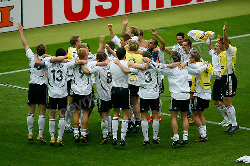 Jun 30, 2006; Berlin, GERMANY; Germany celebrates the 4-2 win over Argentina on penalty shots following a 1-1 draw in extra time in quarterfinal action of the 2006 FIFA World Cup at Olympiastadion, Berlin. Mandatory Credit: Ron Scheffler-US PRESSWIRE Copyright © Ron Scheffler.