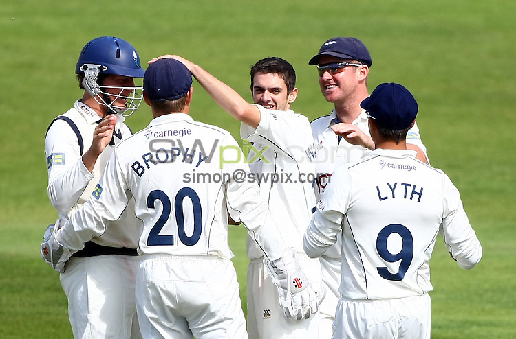 PICTURE BY VAUGHN RIDLEY/SWPIX.COM...Cricket - County Championship - Yorkshire v Warwickshire, Day 2 - Headingley, Leeds, England - 24/08/11...Yorkshire's David Wainwright celebrates the wicket of Warwickshire's Laurie Evans.