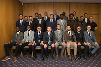 Journalist and presenter, Bill Turnbull (front row, 4th left), poses with the Wycombe Wanderers squad ahead of the Wycombe Wanderers End of Season 2016 Awards Dinner at Adams Park, High Wycombe, England on 1 May 2016. Photo by David Horn
