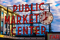Public Market Center neon sign at the Pike Place Market, Seattle, Washington USA.