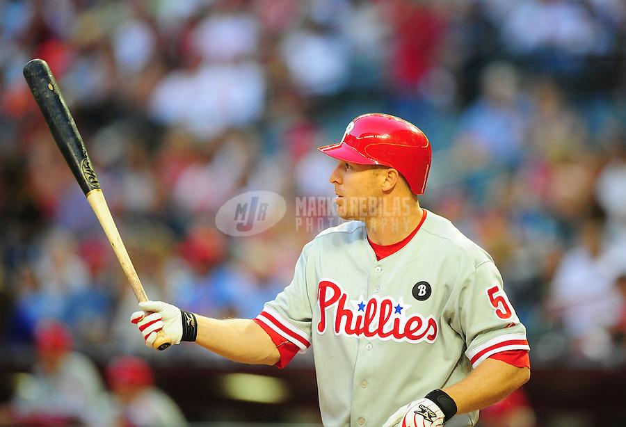 Apr. 26, 2011; Phoenix, AZ, USA; Philadelphia Phillies second baseman Pete Orr against the Arizona Diamondbacks at Chase Field. Mandatory Credit: Mark J. Rebilas-