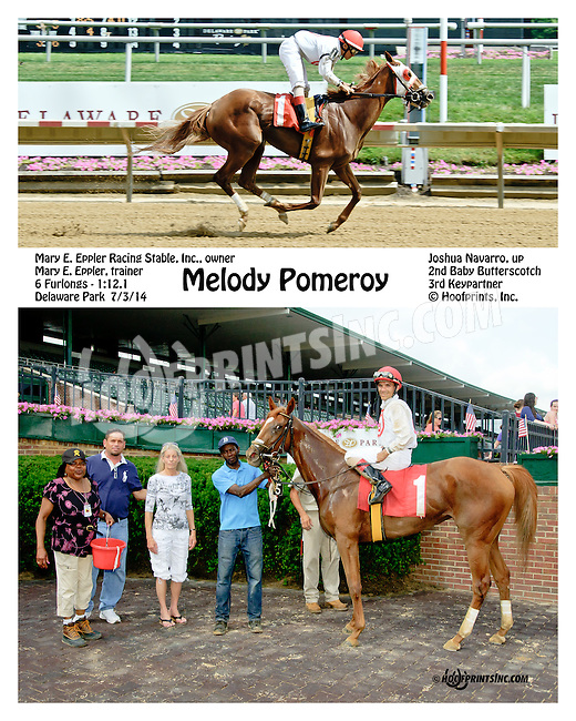 Melody Pomeroy winning at Delaware Park on 7/3/14