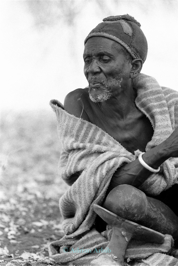 A Turkana elder in a traditional village nr Kakuma, Northern Kenya.