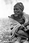 A Turkana elder in a traditional village nr Kakuma, Northern Kenya.