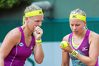 Paris, France, 30 May, 2018, Tennis, French Open, Roland Garros, Womans Doubles : Kiki Bertens (NED) (L) and Johanna Larsson (SWE)<br /> Photo: Henk Koster/tennisimages.com