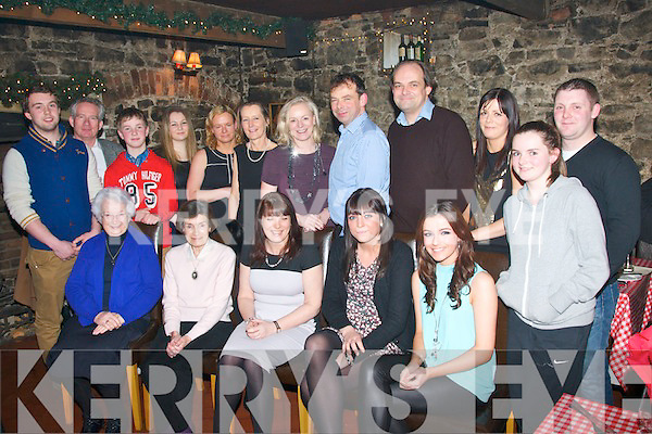 BIRTHDAY: Deirdre Shanahan, Currow (seated centre) celebrated her birthday last Saturday night in Finnigan's, Tralee with many family and friends (seated) l-r: Sr Mary Finbarr, Kathleen and Deirdre Shanahan, Aoife Murphy and Dervala Murphy. Back l-r: Robert Shanahan, Tim Lacey, David, Jane, Catherine, Eliza, Liz, Jack, Peter, Frances and Blaithín Shanahan with Nicky Smyth.