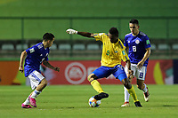 31st October 2019; Bezerrao Stadium, Brasilia, Distrito Federal, Brazil; FIFA U-17 World Cup Brazil 2019, Solomon Islands versus Paraguay; Javin Alick of Solomon Islands and Matias Segovia, Fabrizio Peralta of Paraguay - Editorial Use