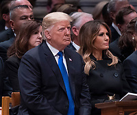 December 5, 2018 - Washington, DC, United States: United States President Donald J. Trump and First Lady Melania Trump attend the state funeral service of former President George W. Bush at the National Cathedral. <br /> CAP/MPI/RS<br /> &copy;RS/MPI/Capital Pictures
