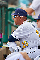 Montgomery Biscuits coach Gary Redus (20) during a Southern League game against the Mobile BayBears on May 2, 2019 at Riverwalk Stadium in Montgomery, Alabama.  Mobile defeated Montgomery 3-1.  (Mike Janes/Four Seam Images)