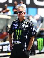 Jul 30, 2016; Sonoma, CA, USA; Crew chief Brian Husen for NHRA top fuel driver Brittany Force during qualifying for the Sonoma Nationals at Sonoma Raceway. Mandatory Credit: Mark J. Rebilas-USA TODAY Sports