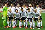 Valencia CF´s goalkeeper Diego Alves, Shkodran Mustafi, Alvaro Negredo, Sofiane Feghouli, Daniel Parejo, Pablo Piatti, Enzo Perez, Javier Fuego, Antonio Barragan, Nicolas Otamendi and Jose Gaya during 2014-15 La Liga match between Atletico de Madrid and Valencia CF at Vicente Calderon stadium in Madrid, Spain. March 08, 2015. (ALTERPHOTOS/Luis Fernandez)