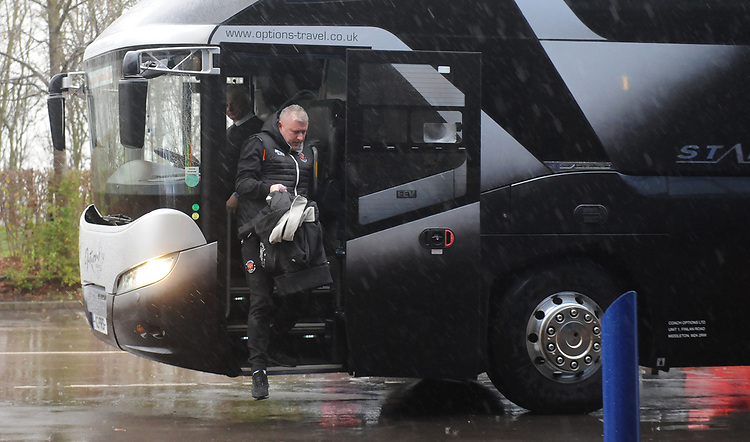 Blackpool's Manager Terry McPhillips steps off the team bus<br /> <br /> Photographer Kevin Barnes/CameraSport<br /> <br /> The EFL Sky Bet League One - Oxford United v Blackpool - Saturday 15th December 2018 - Kassam Stadium - Oxford<br /> <br /> World Copyright © 2018 CameraSport. All rights reserved. 43 Linden Ave. Countesthorpe. Leicester. England. LE8 5PG - Tel: +44 (0) 116 277 4147 - admin@camerasport.com - www.camerasport.com
