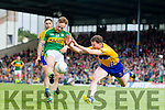 Barry John Keane Kerry in action against Shane Hickey Clare in the Munster Senior Football Championship at Fitzgerald Stadium in Killarney on Sunday.