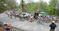 The peloton climbs a switchback on Wolf Pen Gap during Stage 4 of the Ford Tour de Georgia. Fred Rodriguez of Davitamon-Lotto won the 118.9-mile (191.4-km) stage from Dalton to Dahlonega.<br />