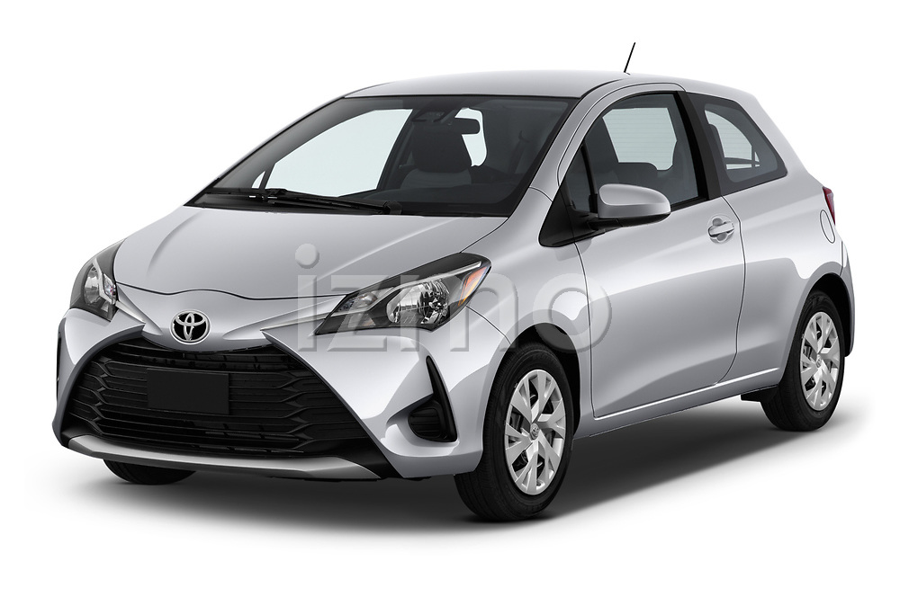 2018 Toyota Yaris L 3-Door Liftback 3 Door Hatchback angular front stock photos of front three quarter view
