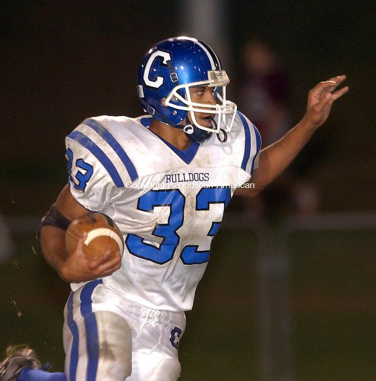 NAUGATUCK, CT- 17 OCTOBER 2008 --101708JS08-Crosby's Isaac White (33)  runs for yardage during their 40-15 win over Naugatuck Friday at Naugatuck High School. <br /> Jim Shannon / Republican-American