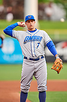 Garin Cecchini (7) of the Omaha Storm Chasers on defense against the Salt Lake Bees in Pacific Coast League action at Smith's Ballpark on May 8, 2017 in Salt Lake City, Utah. Salt Lake defeated Omaha 5-3. (Stephen Smith/Four Seam Images)