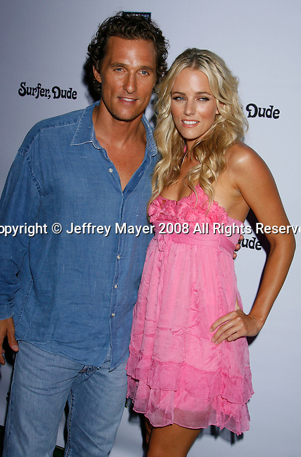 "MALIBU, CA. - September 10: Producer/Actor Matthew McConaughey and Actress Hannah Cornett arrive at the ""Surfer Dude"" premiere at the Malibu Cinemas on September 10, 2008 in Malibu, California."
