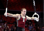 20 APR 2012:  James Fosco of Stanford competes on the rings during the Division I Men's Gymnastics Championship held at the Lloyd Noble Center on the University of Oklahoma campus in Norman, OK. The Stanford team finished in fifth place with a score of 352.65. Stephen Pingry/NCAA Photos
