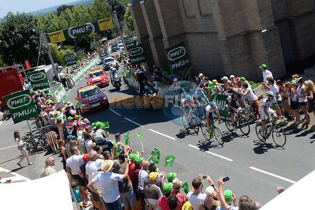 The breakaway group of Simon Clarke (AUS) Orica GreenEdge, Florian Vachon (FRA) Bretagne-Seche, David De La Cruz Melgarejo (ESP) Netapp-Endura, Gregory Rast (SUI) Trek Factory Racing and Sebastian Langeveld (NED) Garmin-Sharp pass the intermediate sprint at Romaneche-Thorins during Stage 12 of the 2014 Tour de France running 185.5km from Bourg-en-Bresse to Saint Etienne. 17th July 2014.<br /> Photo ASO/B.Bade/www.newsfile.ie