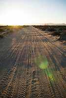 Sandy dirt road through desert of northern Baja California, Mexico