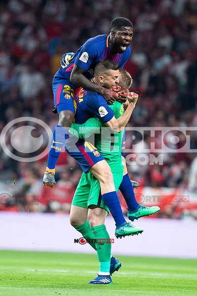 Sevilla FC XXX and FC Barcelona Samuel Umtiti, Jordi Alba and Jasper Cillesen celebrating a goal during King's Cup Finals match between Sevilla FC and FC Barcelona at Wanda Metropolitano in Madrid, Spain. April 21, 2018. (ALTERPHOTOS/Borja B.Hojas)
