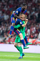 Sevilla FC XXX and FC Barcelona Samuel Umtiti, Jordi Alba and Jasper Cillesen celebrating a goal during King's Cup Finals match between Sevilla FC and FC Barcelona at Wanda Metropolitano in Madrid, Spain. April 21, 2018. (ALTERPHOTOS/Borja B.Hojas)