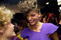 NEW YORK--SEP 11 Models Missy Rayder, left, and Daria Werbowy share a laugh backstage during the designer Stephen Burrows fashion show at the Style Lounge during Olympus Fashion Week Spring 2005 in New York City on September 11, 2004. (Photo by Landon Nordeman/Getty Images)