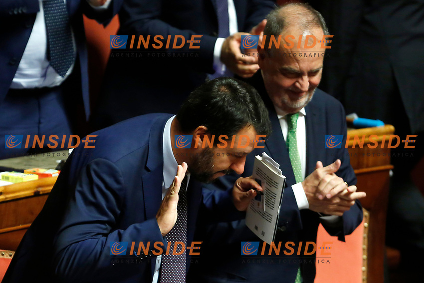 Matteo Salvini<br /> Rome September 10th 2019. Senate. Discussion and Trust vote at the new Government. <br /> Foto  Samantha Zucchi Insidefoto