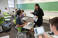 Department of Economics associate professor Mary Lopez teaches her class, Applied Econometrics (Econ 272) in Fowler Hall 201 on May 2, 2017.<br /> (Photo by Marc Campos, Occidental College Photographer)
