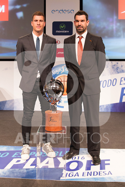 Nemanja Nedovic and Rafa Martinez during presentation of the Liga Endesa playoff. May 23,2016. (ALTERPHOTOS/Rodrigo Jimenez)