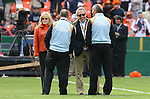 18 November 2007: Houston Dynamo owner Phil Anschutz (2nd from rt) and his wife Nancy Anschutz (left) meet Houston head coach Dominic Kinnear (right) and assistant coach John Spencer (2nd from left) before the game. The Houston Dynamo defeated the New England Revolution 2-1 at RFK Stadium in Washington, DC in MLS Cup 2007, Major League Soccer's championship game.