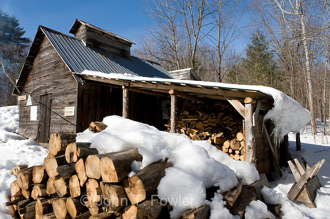 Traditional maple sugar shack for Maple Syrup making. food, agriculture, agricultural crop, Fortune Farms, Lanark County, Ontario, Canada