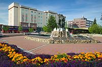 Golden Heart Park, First Family statue, Marriot Hotel, downtown Fairbanks, Alaska