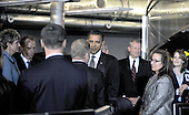 McLean, VA - October 6, 2009 -- United States President Barack Obama greets employees of the National Counterterrorism Center (NCTC) in McLean, VA after making remarks during his visit on Tuesday, October 6, 2009.  Visible at right is .Credit: Ron Sachs / Pool via CNP