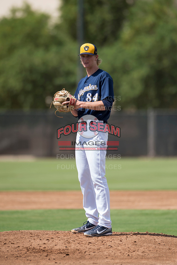 Milwaukee Brewers relief pitcher Caden Lemons (84) gets ready to deliver a pitch during an Instructional League game against the Los Angeles Dodgers at Maryvale Baseball Park on September 24, 2018 in Phoenix, Arizona. (Zachary Lucy/Four Seam Images)