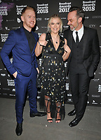 Mikey North, Lucy Fallon and Daniel Brocklebank at the Broadcast Awards 2018, Grosvenor House Hotel, Park Lane, London, England, UK, on Wednesday 07 February 2018.<br /> CAP/CAN<br /> &copy;CAN/Capital Pictures